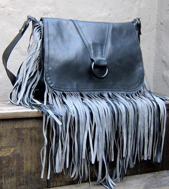 Vintage Black Leather Long Fringe Handbag Purse  HoBo Hippie Western Rocker Trendy
