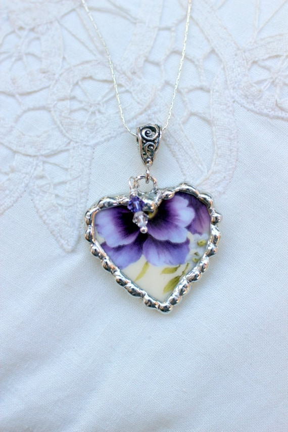 Broken China Jewelry, Heart Pendant Necklace, Pansy Chintz China, Sterling Silver