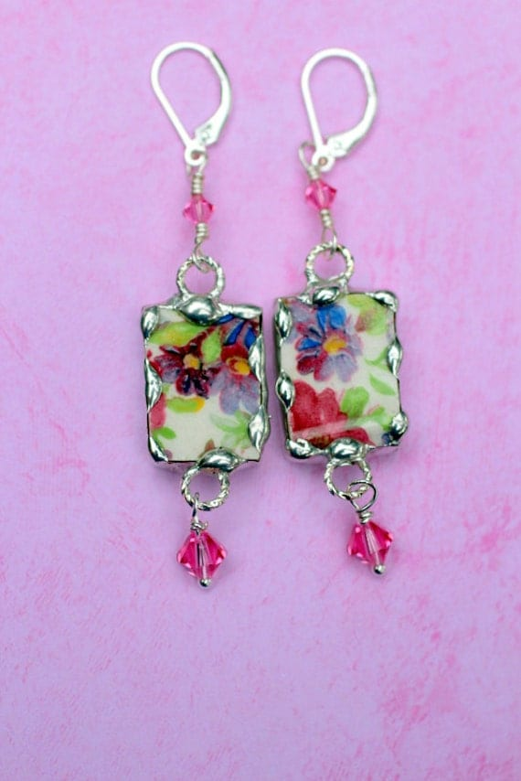 Broken China Jewelry Earrings - Pink and Purple Floral DuBarry Chintz, Sterling Silver Leverback