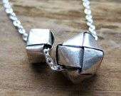 double FOLDED BOX sterling necklace