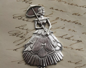 Victorian lady woman Stamping Ornament Silver Civil war Lady Pendant Jewelry Making