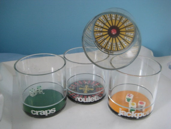 casino game cups set of 4 - roulette, craps, big six and jackpot