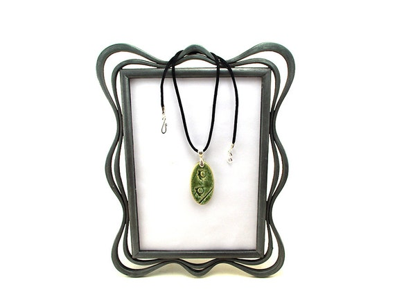 Green Ceramic Necklace Textured with Corals:  Fun Bridesmaid Gifts, Beach Wedding Jewelrey, Unique Pottery Gift for Her by MiriHardyPottery