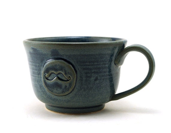 Mustache Mug:  Unique Blue Ceramic Mug with a Mustache, Great Gift for Men, Pottery Gifts for Guys by MiriHardyPottery