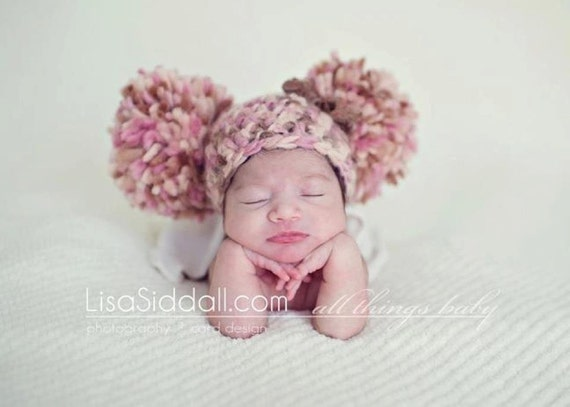 Baby Girl Pom pom Hat, Pink,Brown,Cream,Sari Silk ,Bow, Crochet,Newborn Hat or Photo Prop,Ready to Ship