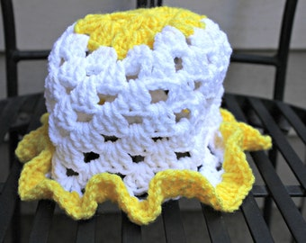 White and Yellow Baby Hat with Ruffled edges size 3-6 months