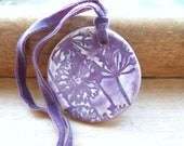 Purple ceramic pendant, agapanthus flower, vintage velvet, autumn, fall colours, Rhapsody