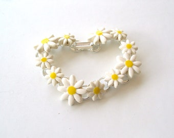 Daisy chain bracelet ceramic daisies silver plated white yellow Spring time Summer wedding
