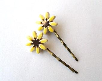 2 Sunflower bobby pins ceramic flowers antique bronze tone hair clips yellow bronze honey gold Summer time