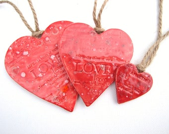 Red hearts, love words, Valentine's gift, wedding favours, home decor, rustic twine