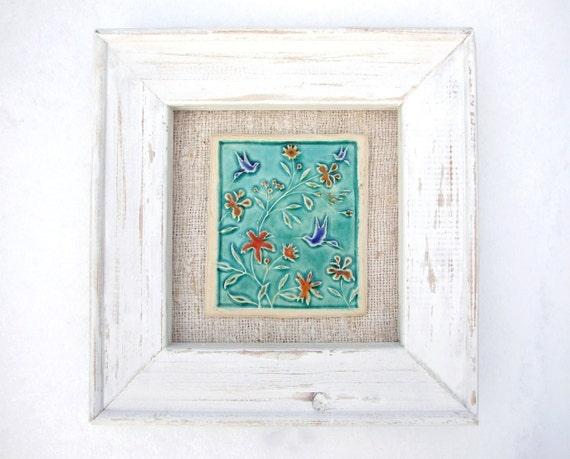 Framed tile, humming bird turquoise, blue, red, orange, vintage linen, white painted wood frame, Summer,