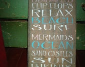 Rustic  Beach Subway art, Typography, hand painted, reclaimed barn wood sign. Shabby cottage chic. Tan, turquoise blue