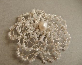 White Beads and Freshwater Pearl Wire Crochet Flower Brooch