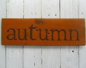 Autumn hand painted wood board for Fall decoration
