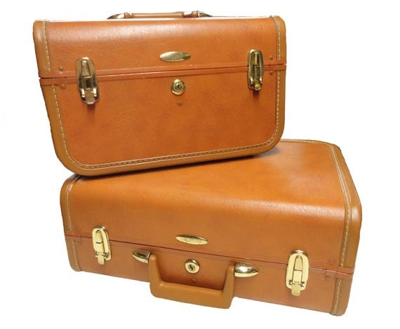 Vintage Train Case & Luggage Set - Carry On Travel Case Plane KEY INCLUDED