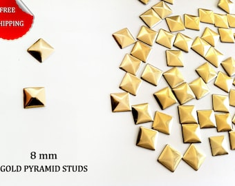DIY Studs - 250 Gold 8 mm  Pyramid Square Studs - Iron On, Hot Fix, or Glue On