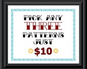 PATTERN ONLY - pick three patterns for ten dollars