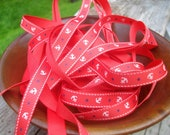 Nautical Grosgrain Ribbon /  bow making ribbon / Scrap booking ribbon / Anchor / Sailor