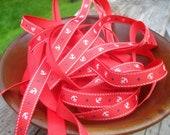 Nautical Grosgrain Ribbon /  bow making ribbon / Scrap booking ribbon / Anchor / Sailor