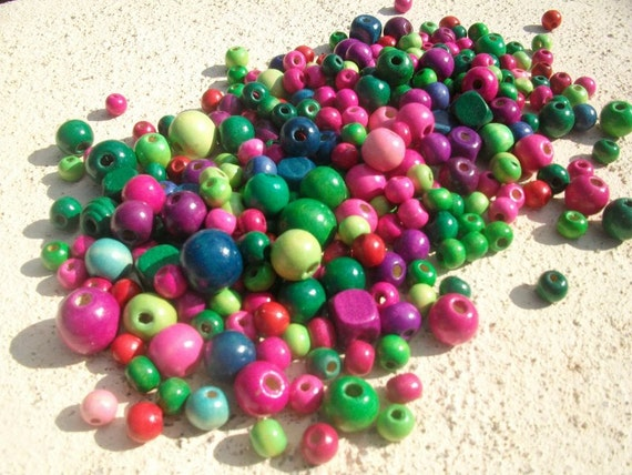 Wood Beads large and small beads pink, blue, green, red