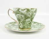 Vintage Royal Stafford Tapestry Teacup and Saucer Made in England Bone China Forest Green