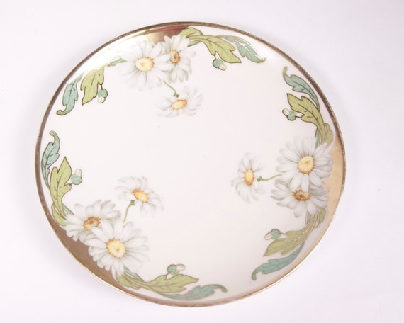Vintage German Daisy Plate Weimar Handpainted China Made in Germany Spring Daisy Plate