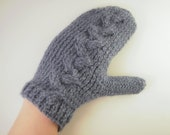 Blue mittens cable knit , blue gloves