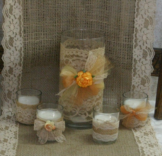 Country Wedding Centerpieces Ideas: Items Similar To Vintage Burlap Wedding Vase, Victorian