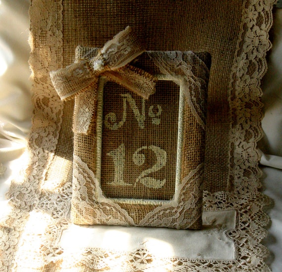 Burlap table number frame, Wedding photo frame, rustic, country, shabby chic. French country wedding