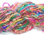 Recycled Silk Sari Yarn - 200 Yards of Hand Spun Rainbow Fiber with a Heavy Twist