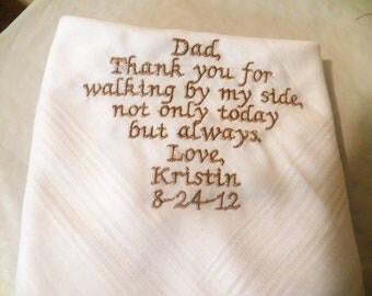 Personalized Wedding Handkerchief from the Bride to her Father