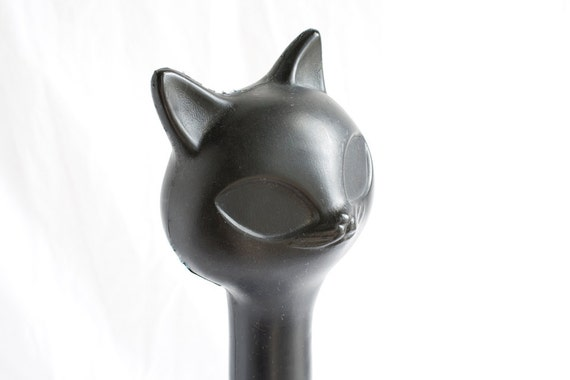 Vintage Black Cat Bottle, 1960s, Plastic Shampoo Bottle, 14 Inches Tall