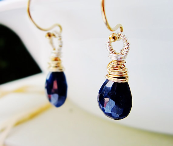 Sapphire Earrings September Birthstone 14K Gold Fill and Silver wire wrap Midnight blue