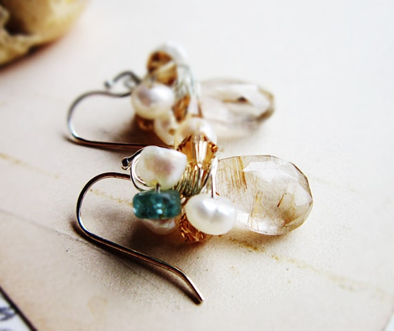 Cyber Monday Etsy Jewelry sale Golden Rutilated Quartz Earrings - Freshwater Pearls, Champagne Swarovski Crystals, Emeralds
