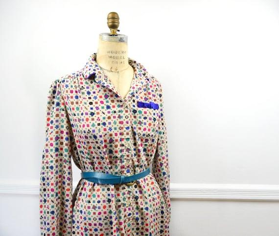 Plus Size  - 80s Beige Summer Dress - Colorful