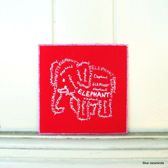 RESERVED FOR PATRICIA -Baby Elephant Word Art Card -  White Screen Print on Red - Calligram