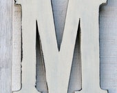 """Guest Book Rustic Wooden Letter M Distressed Vintage White,12"""" tall Wood Name Letters Nursery Decor, Kids Room You Pick Color"""