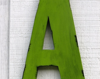 "Large Rustic Wooden Letter A Distressed Painted Citrus Green 12"" tall Wood Name Letters, kids Room Decor"