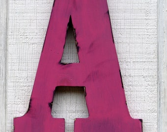 """3 D Large Wooden letters home decor rustic Letter,A Home Decor Distressed Hot PINK,12"""" tall Wood Name Letters, Custom  Baby Room Decor"""