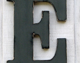 "Large Wood Wooden Letters Wall Letters Baby Room Decor Nursery Kids Room Rustic Home Decor ""E"" Pewter Grey Distressed 12"" tall"