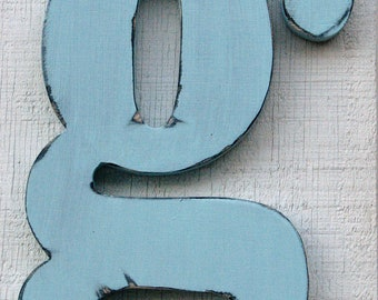"Personalized Rustic Wooden Lowercase g Distressed in Spa Blue,12"" tall Wood Name Letters, Custom Wedding Gift"