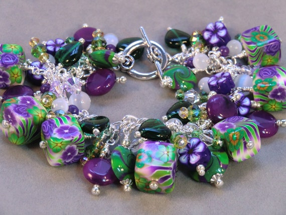 Purple, green and white hippie cube cha cha bracelet, polymer clay square flower, cube and heart dangle fringe bracelet