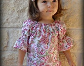 Avery's Peasant Top & Matching Fabric Flower Hair Bow