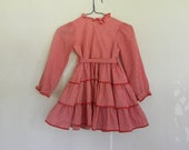 Vintage Girls Dress, Red and White Gingham, Size 5T