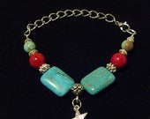 Genuine PillowTurquoise Starfish Bracelet with Red Coral and Silver beads