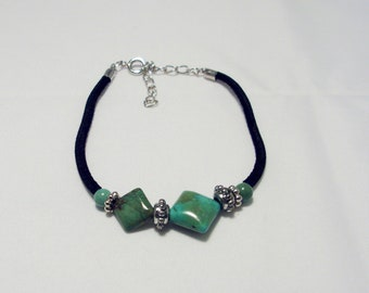 Genuine Turquoise Diamond Shape Bracelet with Silver  Beads