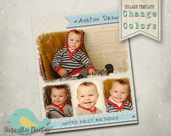 Photography Collage Template Blog Board 16x20 - First Birthday
