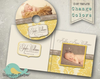 CD/Dvd Label PHOTOSHOP TEMPLATE  - dvd Label Damask Wood