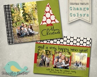 Christmas Card PHOTOSHOP TEMPLATE - Family Christmas Card Black Tie