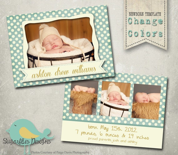 Baby Announcement Templates - Baby Boy Pebbles